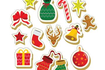 13款彩绘圣诞节元素贴纸矢量素材