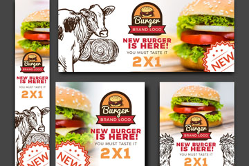 5款创意汉堡包宣传卡片矢量素材