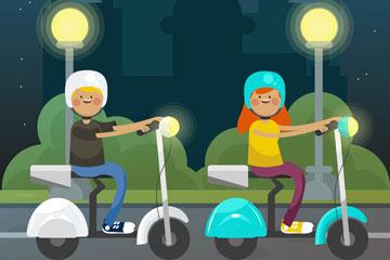 创意骑电动车的2个孩子矢量素材