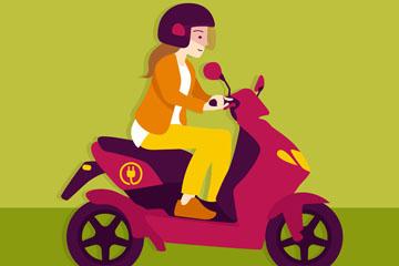 创意骑电动车的女子矢量素材