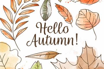 彩绘秋季树叶落叶矢量素材