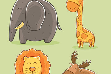 4款彩绘野生动物矢量素材