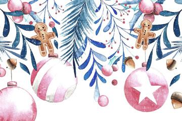 彩绘圣诞节松枝和吊球矢量素材