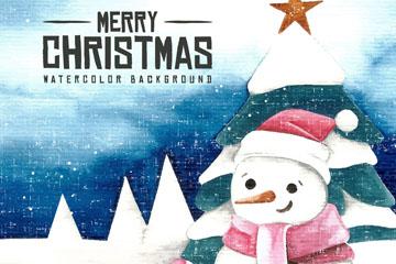 水彩绘圣诞节雪人矢量素材