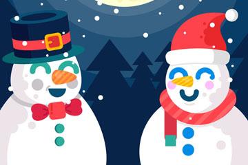 卡通圣诞夜郊外雪人矢量素材