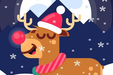 卡通圣诞夜驯鹿矢量素材
