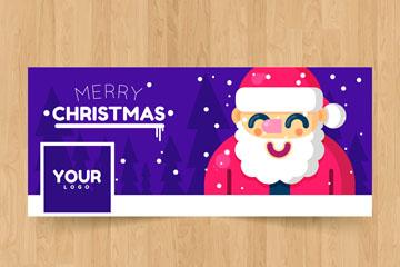 可爱圣诞老人脸书封面图片矢量图