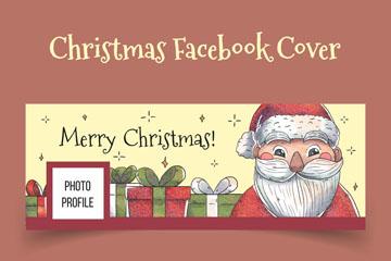 彩绘圣诞老人脸书封面图片矢量素