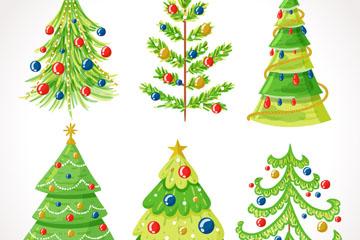 6款彩绘绿色圣诞树矢量素材
