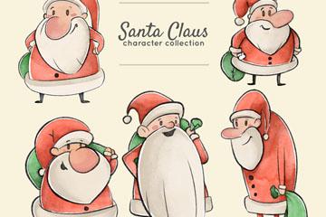 5款彩绘背礼包圣诞老人矢量素材