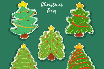 5款彩绘圣诞树贴纸矢量素材