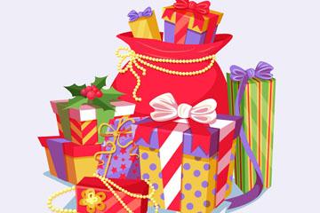 卡通立体节日礼物堆矢量素材