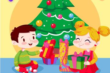 卡通客厅圣诞树旁的2个孩子矢量