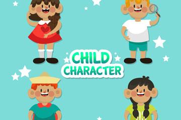 4款创意大笑儿童设计矢量素材