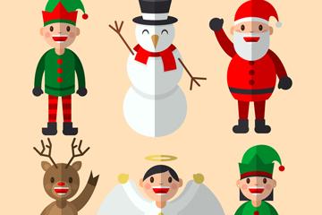 6款可爱扁平化圣诞角色矢量素材