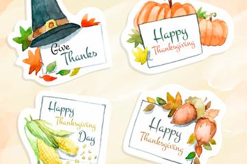 4款彩绘感恩节元素标签矢量图