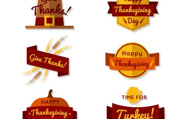 6款创意感恩节标签矢量素材