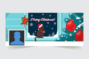 创意圣诞节猫咪脸书封面图片矢量