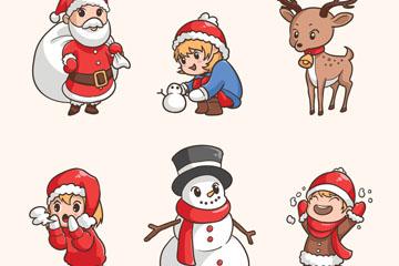 6款可爱圣诞角色设计矢量素材