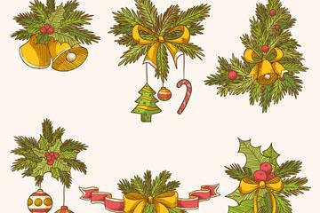 6款彩绘圣诞节装饰物矢量素材