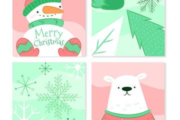4款手绘圣诞节卡片乐虎国际线上娱乐乐虎国际