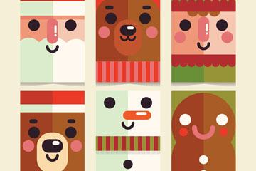 6款扁平化圣诞角色头像卡片乐虎国际线上娱乐图