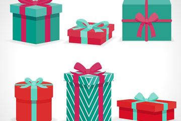 6款立体绿色系节日礼盒矢量素材
