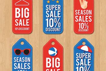 6款彩色季节促销吊牌矢量素材