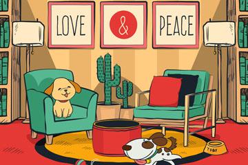 创意客厅里的2只宠物狗矢量素材