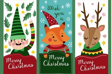 3款可爱圣诞角色banner矢量图