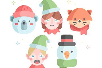 5款清新圣诞角色头像矢量素材