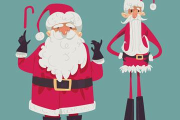 创意胖和瘦圣诞老人矢量素材