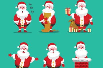 6款可爱圣诞老人动作矢量素材