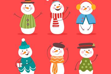 6款彩绘雪人设计矢量素材