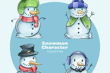 4款彩绘圣诞雪人矢量素材