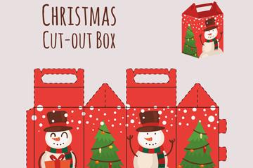 创意圣诞节雪人包装盒矢量图