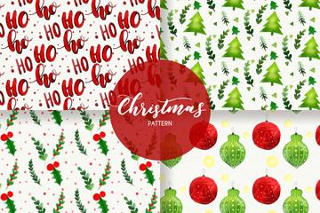 4款水彩绘圣诞无缝背景矢量图