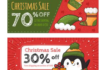 2款彩绘圣诞节折扣banner矢量素材