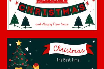 2款手绘圣诞节祝福banner矢量素材
