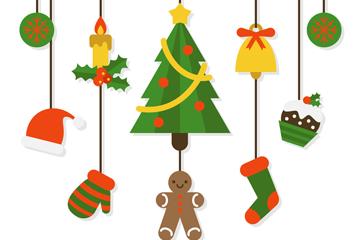 7个质感圣诞节挂饰矢量素材