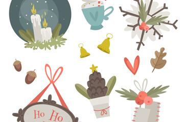 12款彩绘圣诞节物品矢量素材