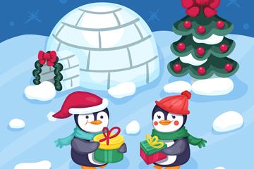 卡通过圣诞节的企鹅矢量素材