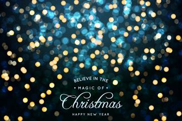 彩色圣诞新年光晕贺卡矢量素材