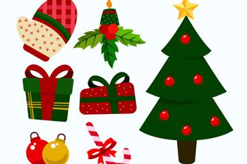 7款彩色圣诞节元素矢量素材