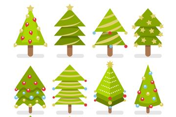 12款扁平化绿色圣诞树矢量素材