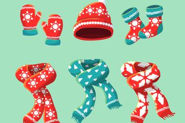6款创意圣诞花纹衣服配饰矢量图