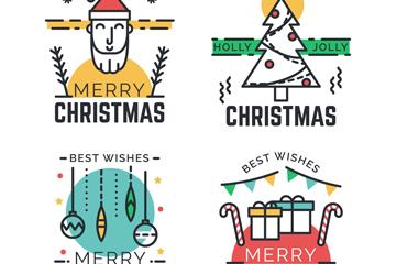 4款创意圣诞祝福标签矢量图