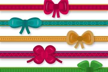 6款彩色蝴蝶结丝带花边矢量素材