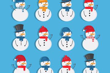 12款白色微笑雪人设计矢量素材