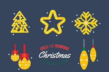 8款金色钻石装饰圣诞元素矢量图